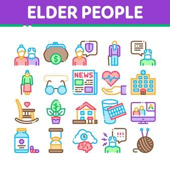Rentner-sammlungs-ikonen der älteren personen eingestellt