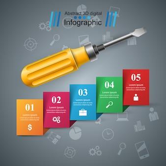 Reparatur-symbol business-infografik