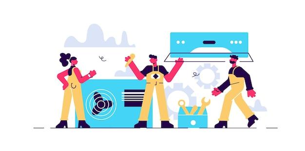 Reparatur- und installationsservicekonzept für klimaanlagen