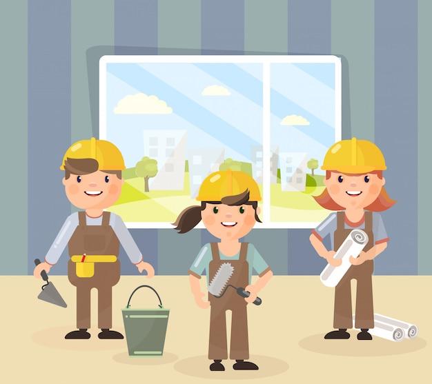 Reparatur und team von handwerkern in helmen.