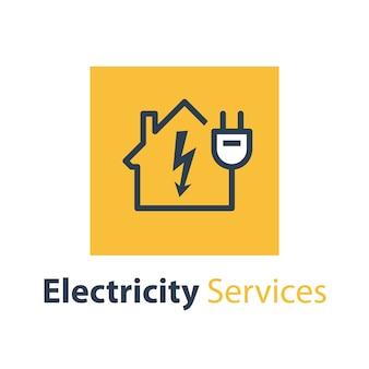 Reparatur- und wartungsdienste für elektrizität, haus mit hochspannungspfeil und stecker, elektrische sicherheit, lineare entwurfsillustration