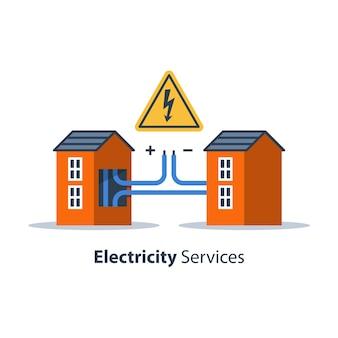 Reparatur- und wartungsdienste für elektrizität, haus mit hochspannungszeichen und kabelanschluss, elektrische sicherheit, flache designillustration