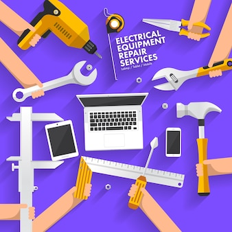 Reparaturcomputer für flaches designkonzept