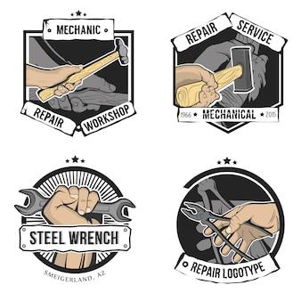 Reparaturetiketten im vintage-stil isoliert. hand mit schraubenschlüssel, hammer, zange und vorschlaghammer.