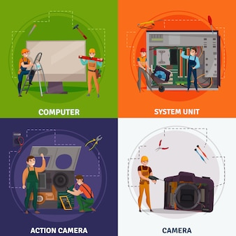 Reparaturkonzept der elektronik mit vier quadraten eingestellt mit kameraschlagzeilen
