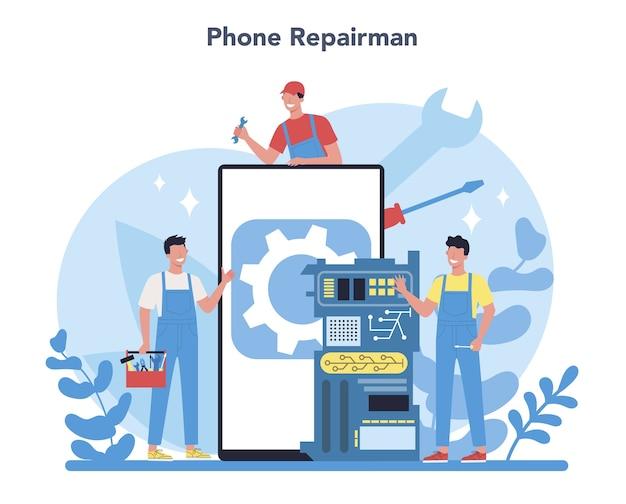 Reparaturmann-konzept. professioneller arbeiter in der uniform reparieren elektrische haushaltsgeräte mit werkzeug. handwerkerberuf. isolierte vektorillustration