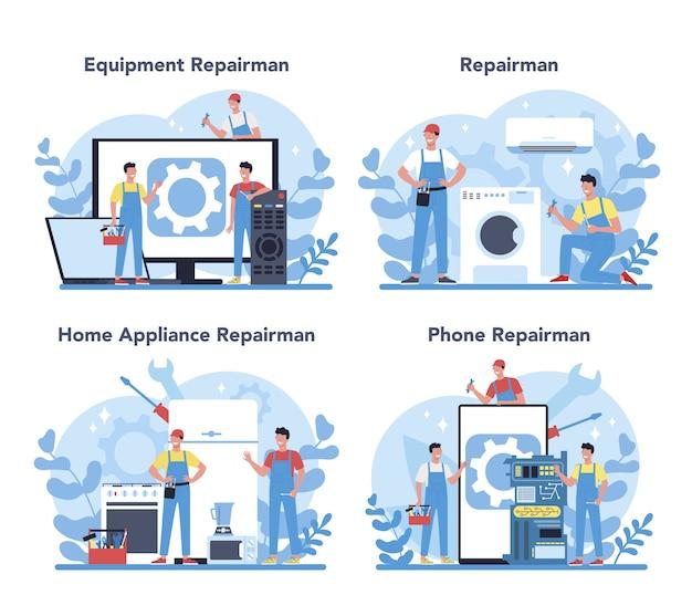 Reparaturmann-konzeptsatz. professioneller arbeiter in der uniform reparieren elektrische haushaltsgeräte mit werkzeug. handwerkerberuf.