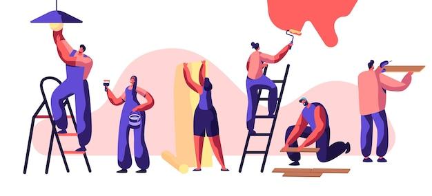 Reparaturservice-facharbeiter. frau auf leiter malen wandrolle in der hand. human glues wallpaper. man lay laminatboden und handbohrmaschine halten. glühbirne wechseln. flache karikatur-vektor-illustration