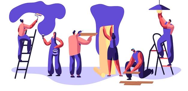 Reparaturservice-facharbeiter. handwerker, zum der wandwalze in der hand zu malen. frau klebt tapete. man lay laminatboden. arbeiter auf leiter glühbirne wechseln. flache karikatur-vektor-illustration