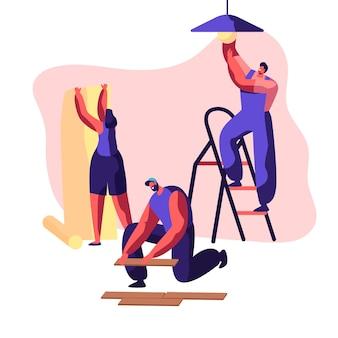 Reparaturservice professioneller arbeiter in uniform für renovierungsarbeiten. frau klebt wallpaper in home. mann lag laminat auf dem boden. arbeiter auf leiter glühbirne wechseln. flache karikatur-vektor-illustration