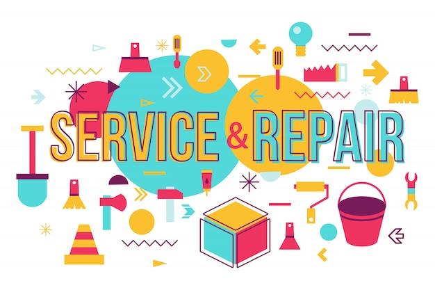 Reparaturwerkstattkonzept-fahnendesign