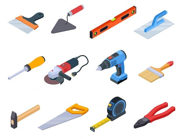 Reparaturwerkzeug isometrisch. handwerker bauwerkzeuge farbe kit reparatur home drill handwerker set