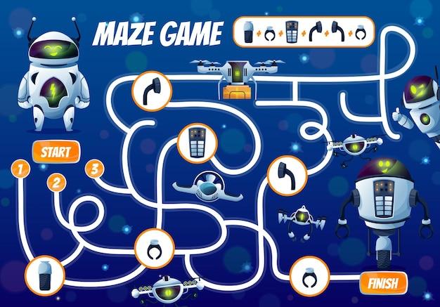 Repariere das labyrinth-spiel für roboterkinder oder fange an, das labyrinth zu beenden