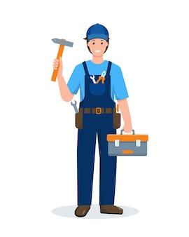 Reparieren sie mann mit blauer uniform mit arbeitswerkzeugkastenkarikaturartillustration