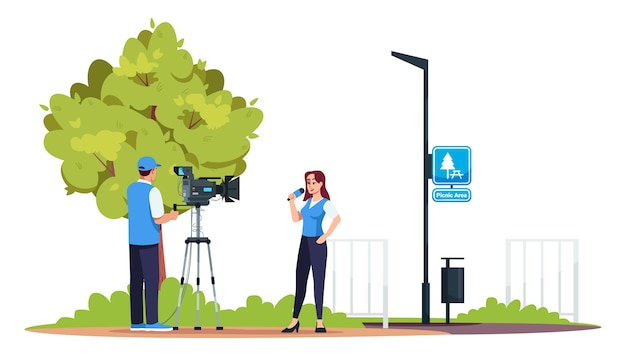 Reportage semi-rgb-farbe. fernsehteam. professionelle tv-geräte. dreharbeiten im park. picknick bereich. aktuelle nachrichten