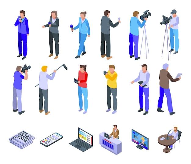 Reportage-symbole festgelegt. isometrischer satz von reportage-symbolen für web lokalisiert auf weißem hintergrund