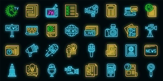 Reportageikonen eingestellt. umrisse von reportagevektorsymbolen neonfarbe auf schwarz