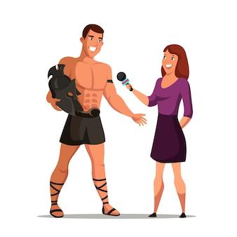 Reporterin, die den prominenten schauspieler interviewt, der das kriegerkostüm der römer trägt