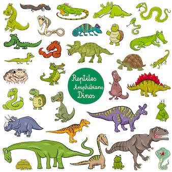 Reptilien und amphibien zeichen gesetzt