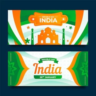 Republic day banner im flachen design