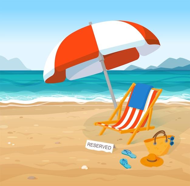 Reservierter strandkorb, regenschirm am tropischen paradiesstrand. möbel zum entspannen und ausruhen am sommerstrand im bequemen liegestuhl unter sonnenschirm in exotischer resort-vektorillustration