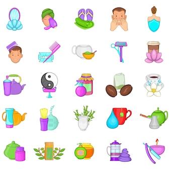 Resort icons set, cartoon-stil