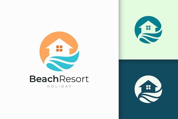 Resort- oder immobilienlogo in abstrakter form für immobilienunternehmen