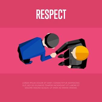 Respekt. händeschütteln der draufsichtpartner