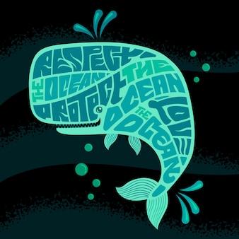 Respektieren sie den ocean-schriftzug bei walen