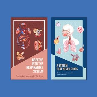 Respiratory instagram template design mit menschlicher anatomie der lunge und gesunder pflege