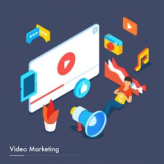 Responsive landing page design für das video marketing.