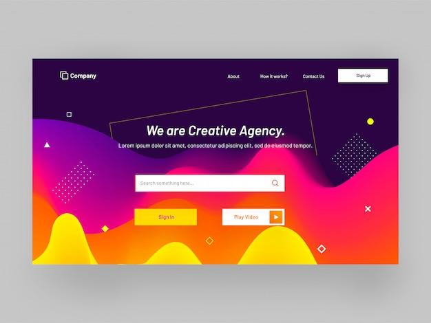 Responsive landing page design für kreative agenturen