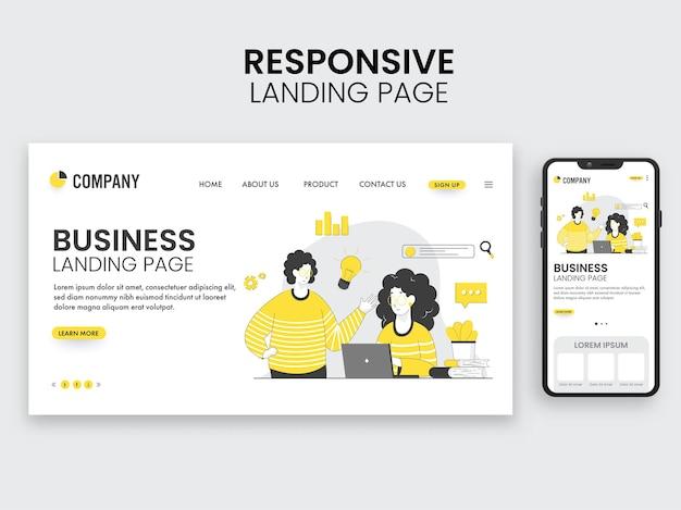 Responsive landing page design mit mitarbeitern, die am arbeitsplatz für das geschäftskonzept arbeiten.