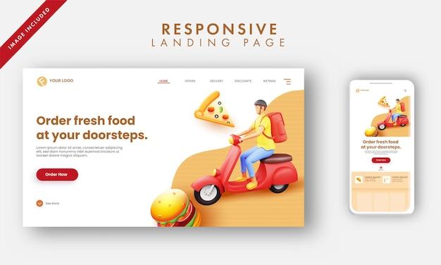 Responsive landing page mit 3d-rendering delivery boy riding scooter für den haustürservice.