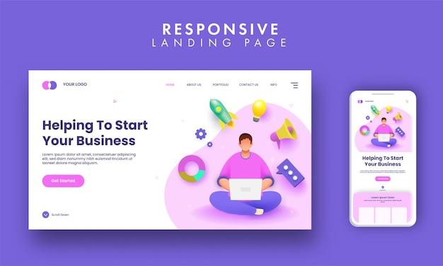 Responsive landing page mit gesichtslosem mann, der an laptop- und 3d-start-up-geschäftselementen arbeitet