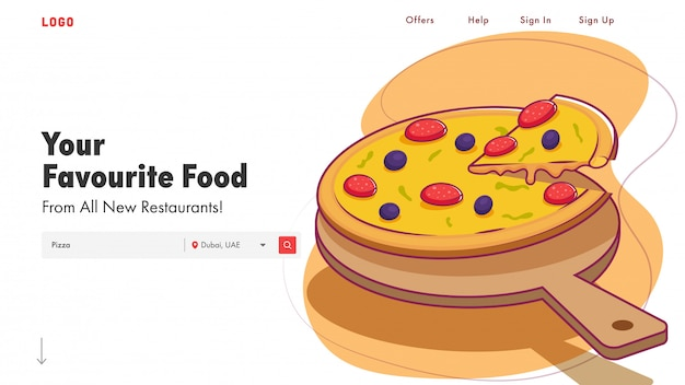 Responsive landing page mit präsentierter köstlicher pizza-illustration für restaurant.