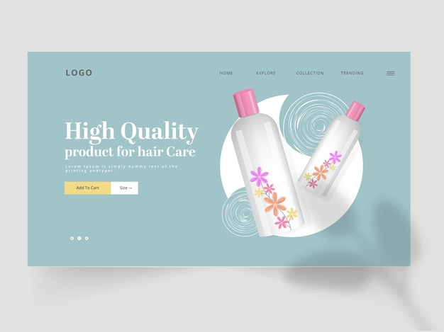 Responsive landing page oder web-banner-design mit 3d-produktflaschen-illustration.