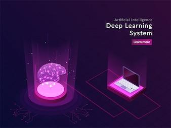 Responsive Landingpage Design der künstlichen Intelligenz.