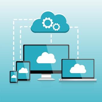 Responsive pc. computer. infografiken der tragbaren geräte, datenverarbeitungselemente der wolke vector illustration