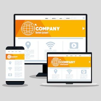 Responsive web-, konzept-website-entwicklung in desktop-computer, smartphone und laptop