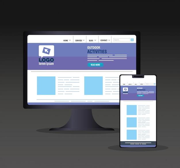 Responsive web-, konzept-website-entwicklung in desktop-computer und smartphone