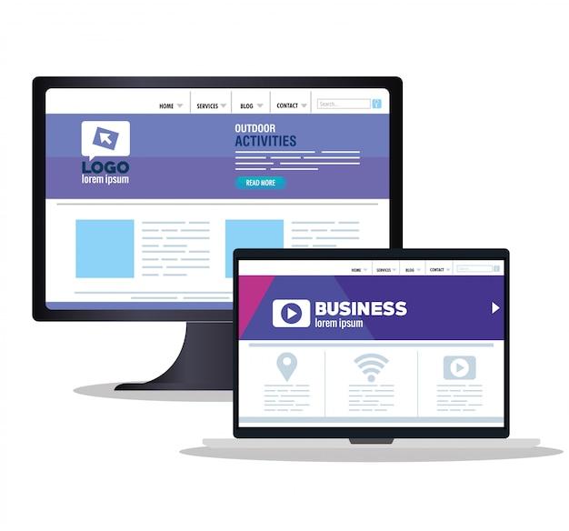 Responsive web, konzept-website-entwicklung in desktop-computer und tablet-gerät