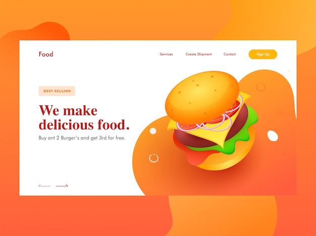 Responsive webbanner oder landingpage mit präsentierendem burger für wir machen leckeres essen.