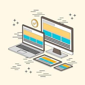 Responsive webdesign-konzept im linienstil