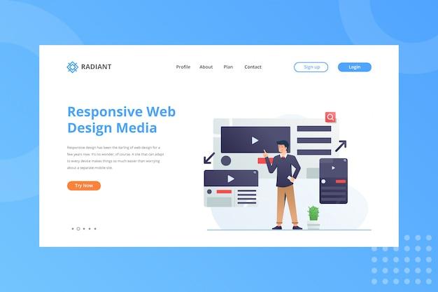 Responsive webdesign-medienillustration für das e-commerce-konzept auf der landing page