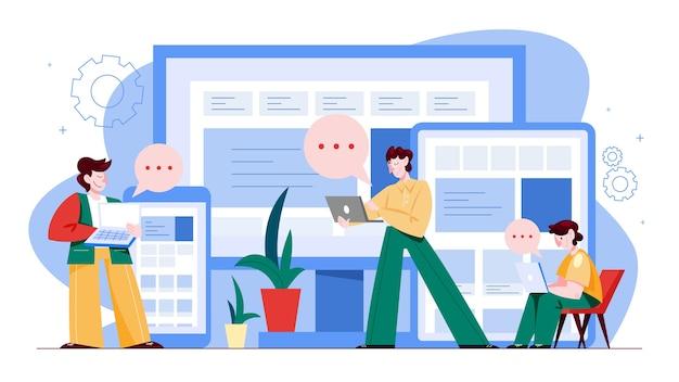 Responsive webkonzept. mobil- und computerschnittstelle. digitale technologie. illustration im cartoon-stil