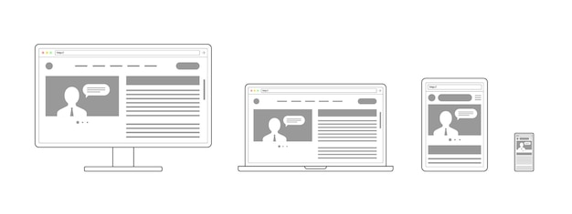 Responsives adaptives webdesign website auf geräten geöffnet computer pc monitor tablet smartphone