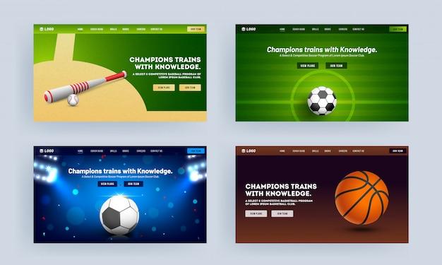 Responsives landingpage-design mit realistischem baseballschläger-, fußball- und basketball-set für champion trains with knowledge.