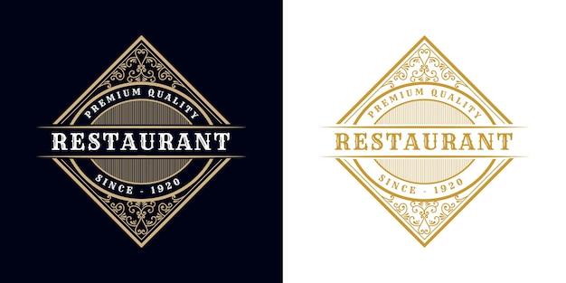 Restaurant. antikes viktorianisches kalligraphisches retro-luxuslogo