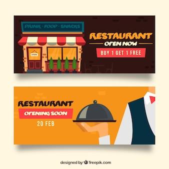 Restaurant banner pack mit flachem design